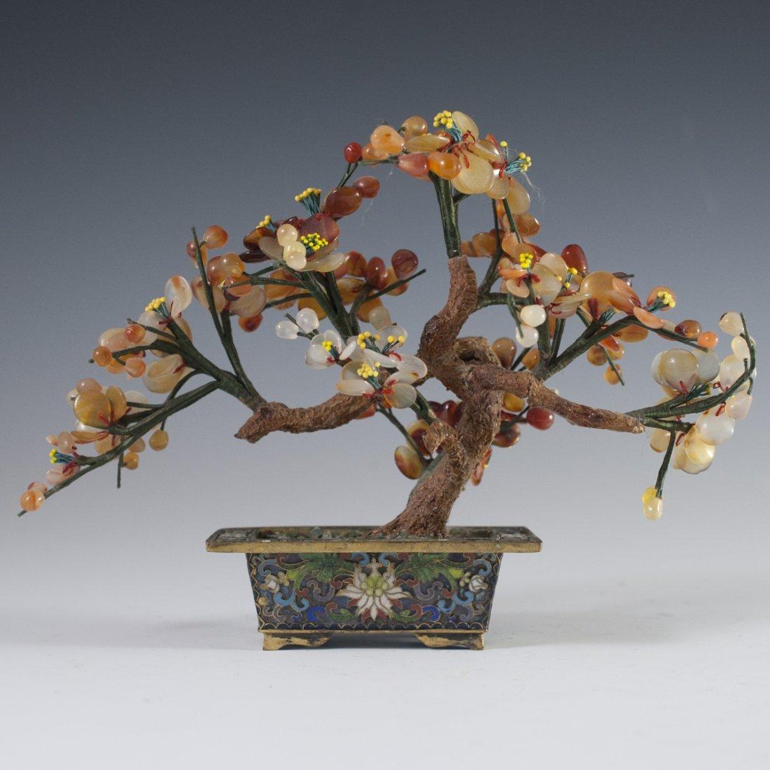 Chinese Enameled Cloissone Agate Bonsai Trees - 5