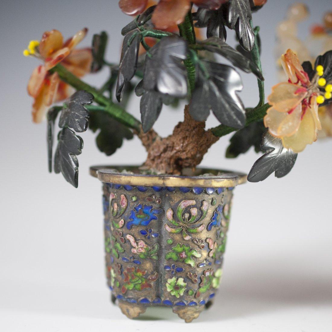 Chinese Enameled Cloissone Agate Bonsai Trees - 7