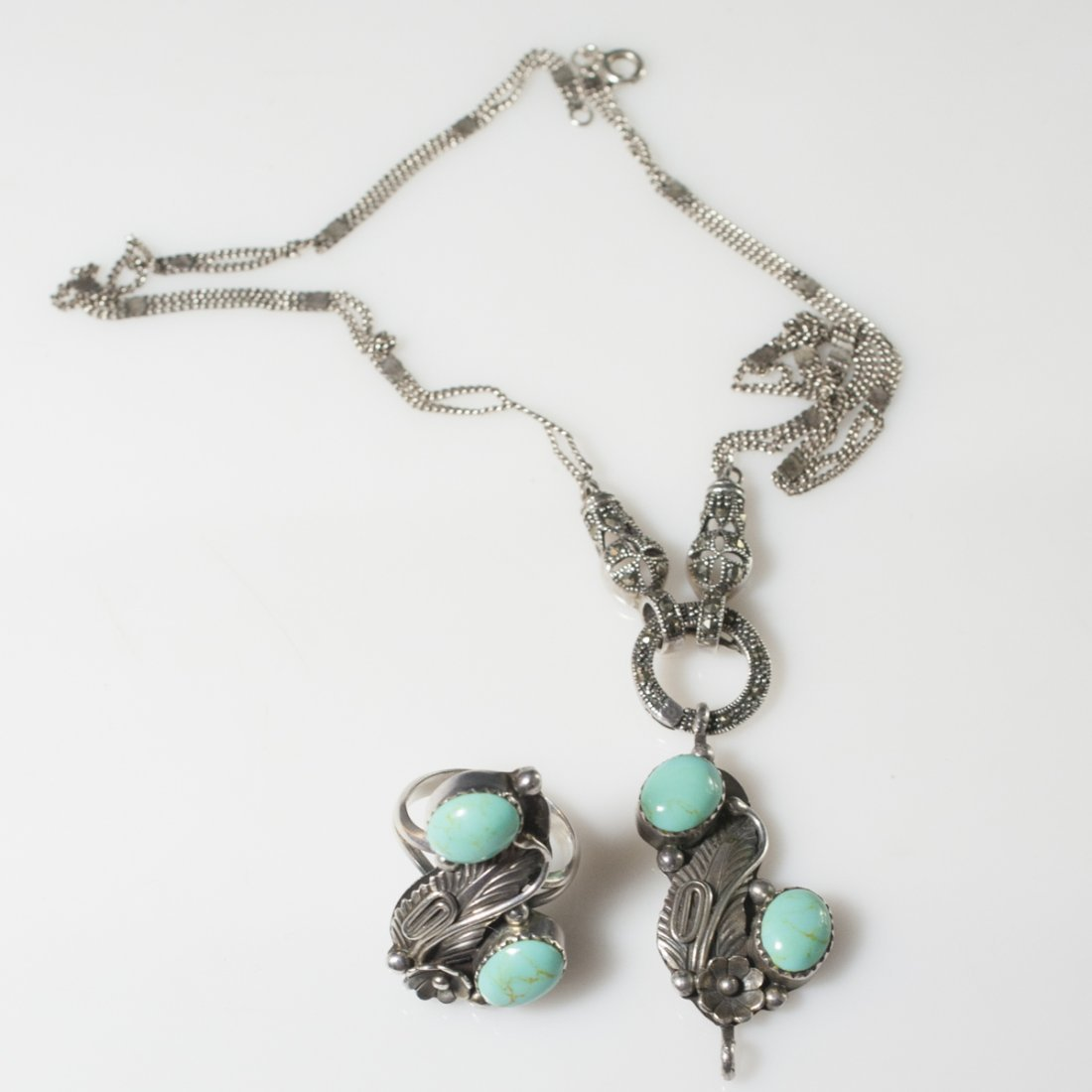 Navajo Style Sterling & Turquoise Set