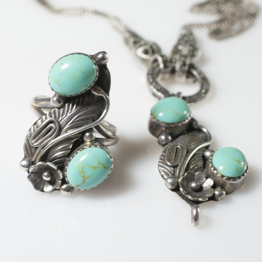 Navajo Style Sterling & Turquoise Set - 4