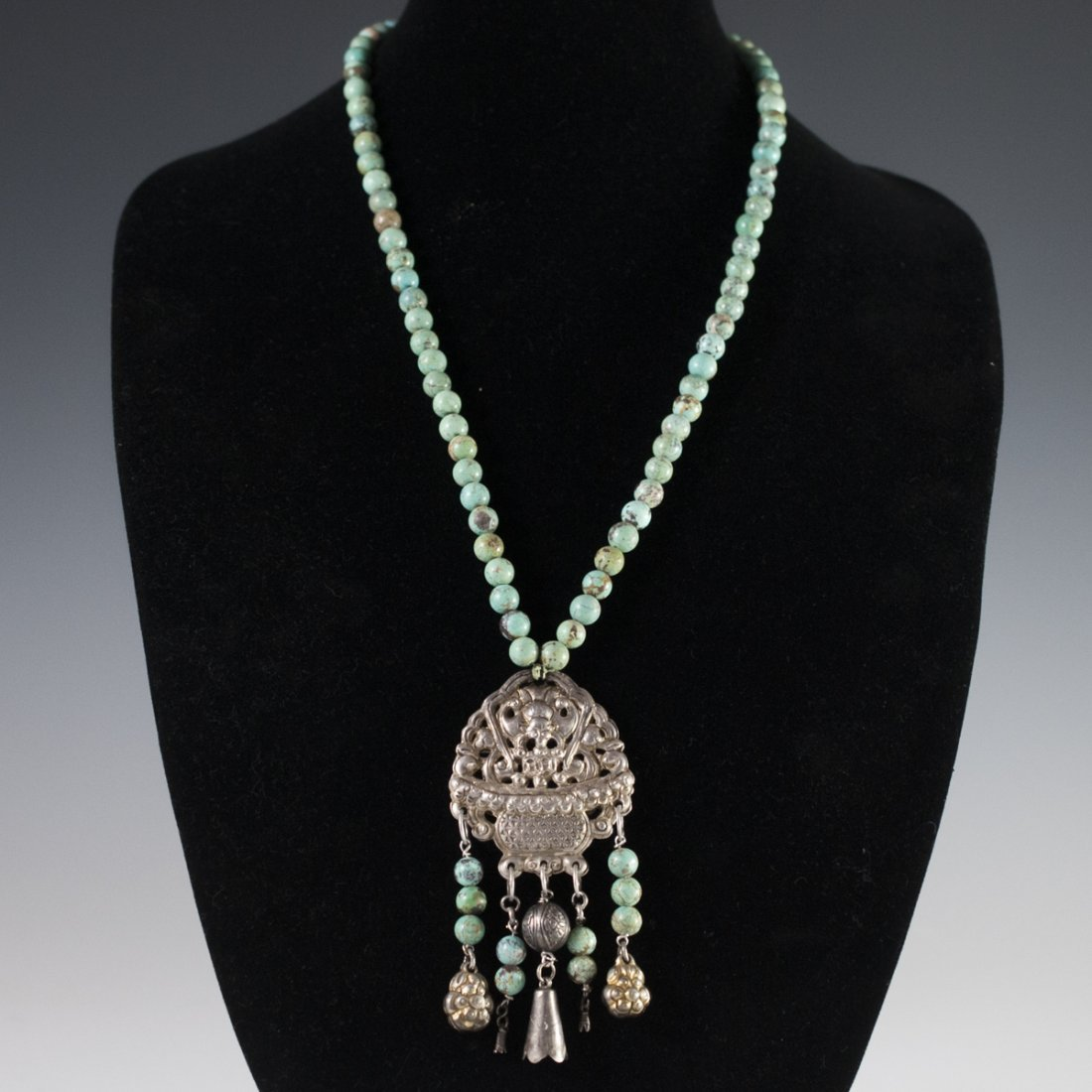 Antique Chinese Silver & Turquoise Necklace