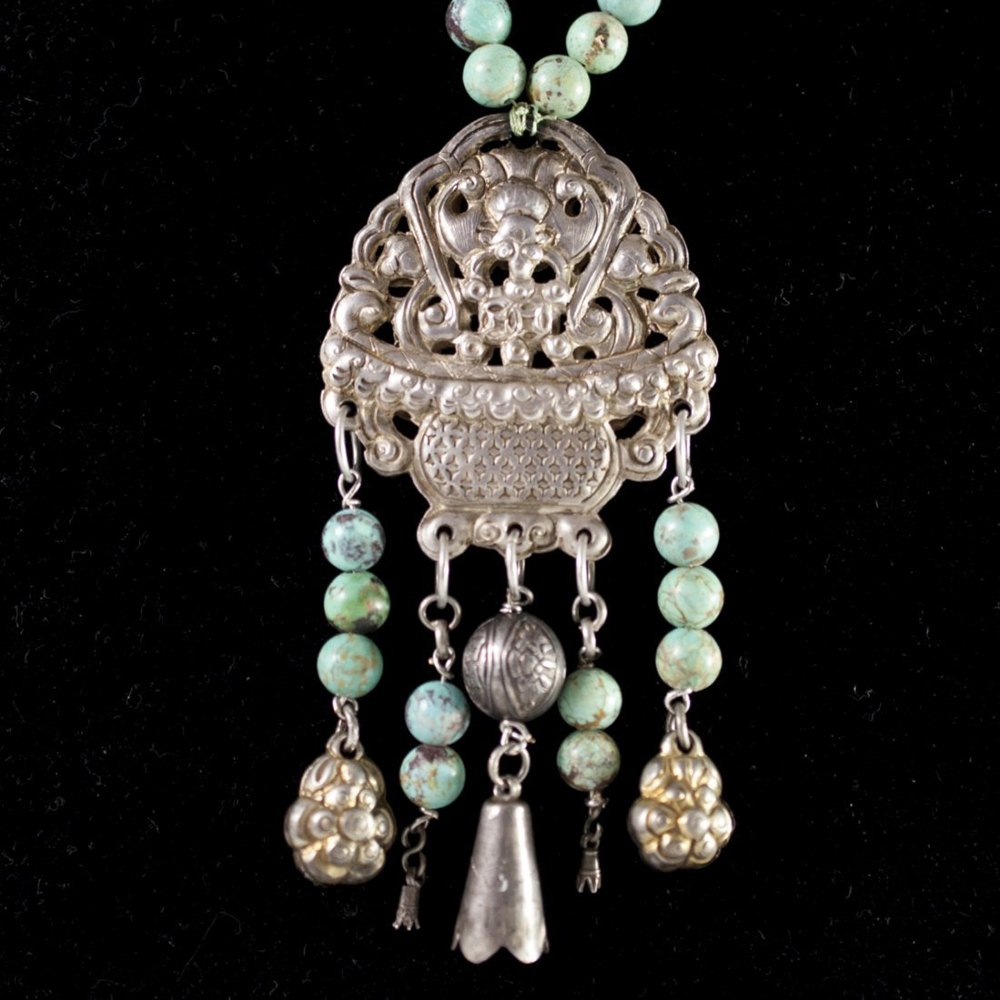Antique Chinese Silver & Turquoise Necklace - 2