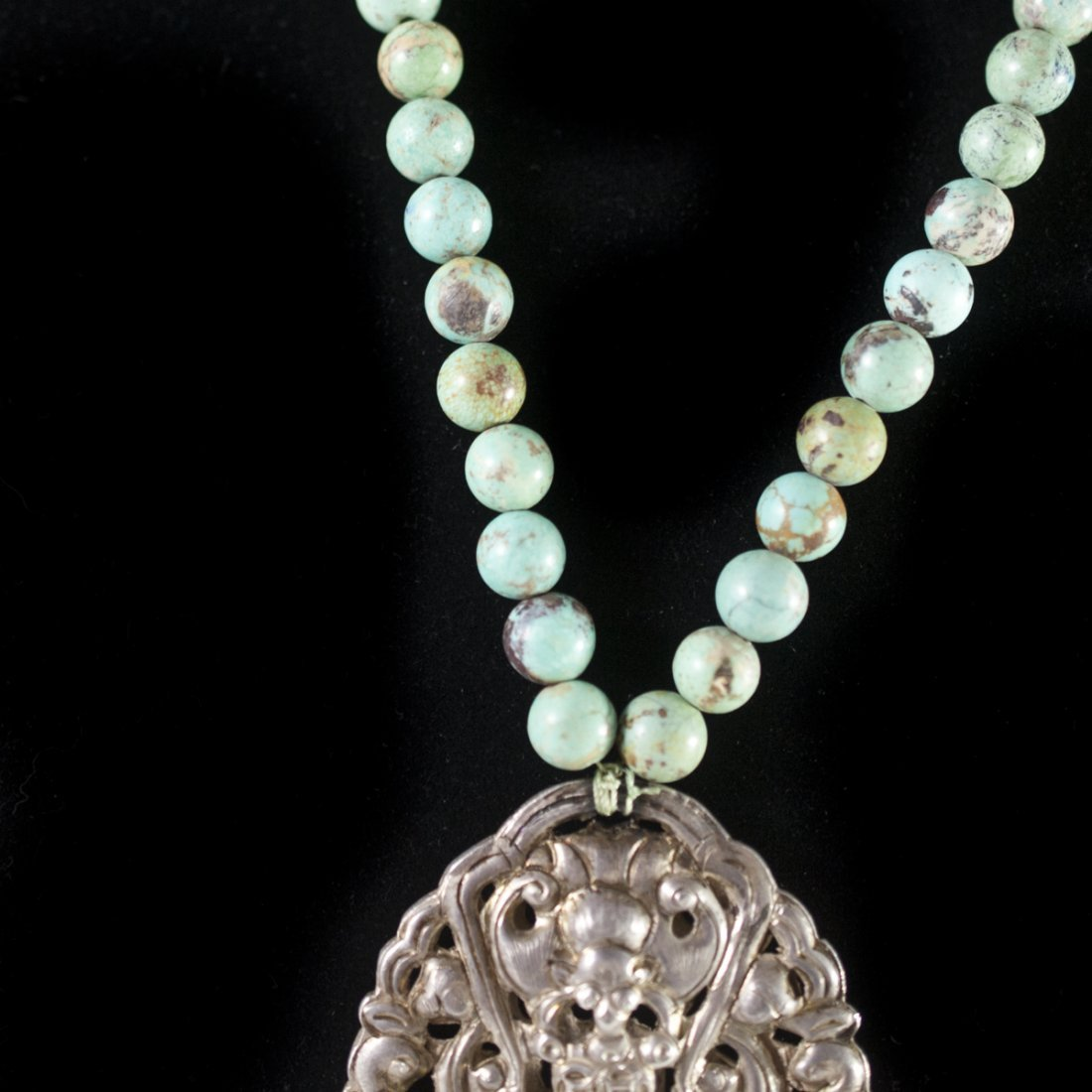 Antique Chinese Silver & Turquoise Necklace - 4