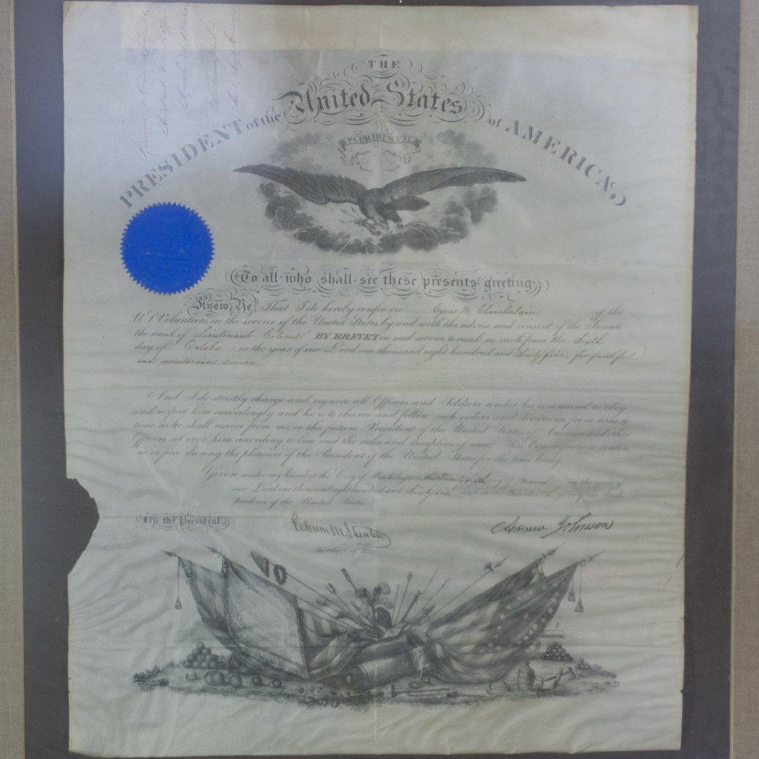 President Andrew Johnson Signed Commission
