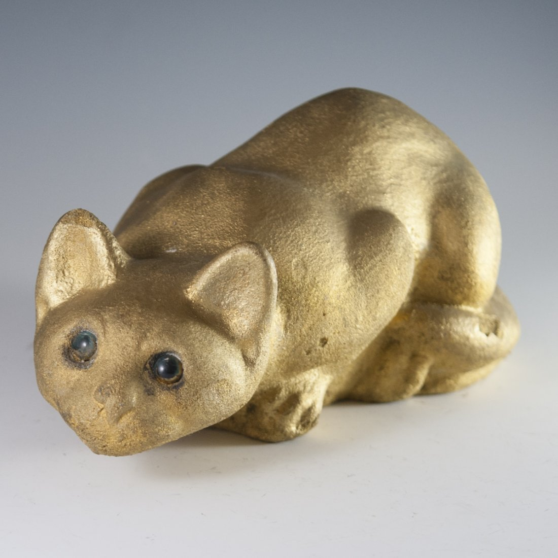 Gilded Cement Cat Statue - 2