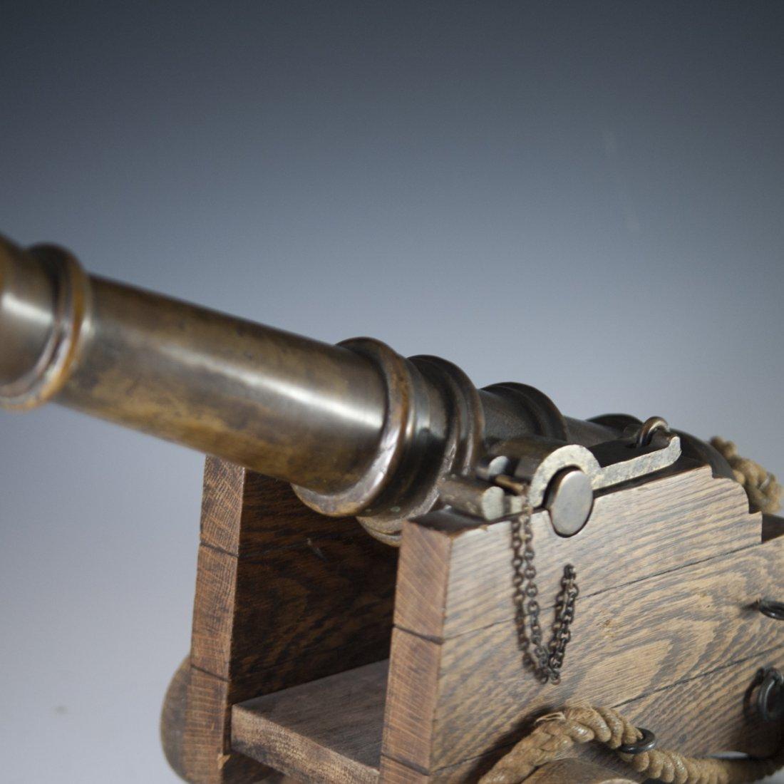 Antique Wooden & Bronze Cannon - 2