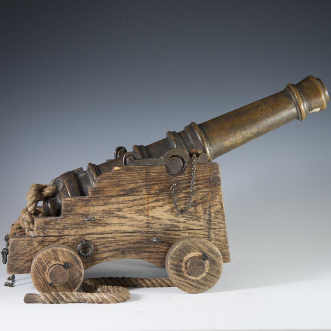 Antique Wooden & Bronze Cannon - 3