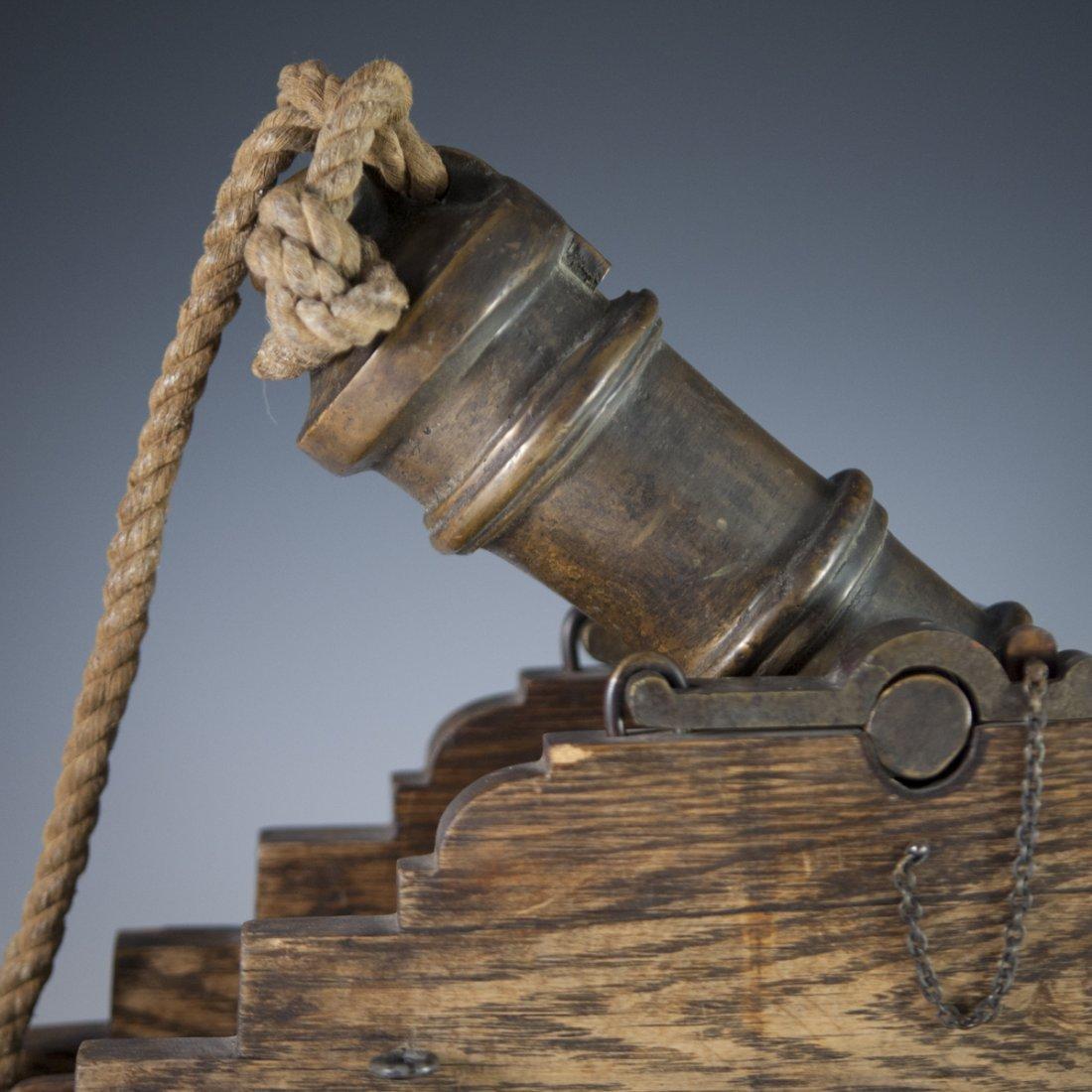 Antique Wooden & Bronze Cannon - 4