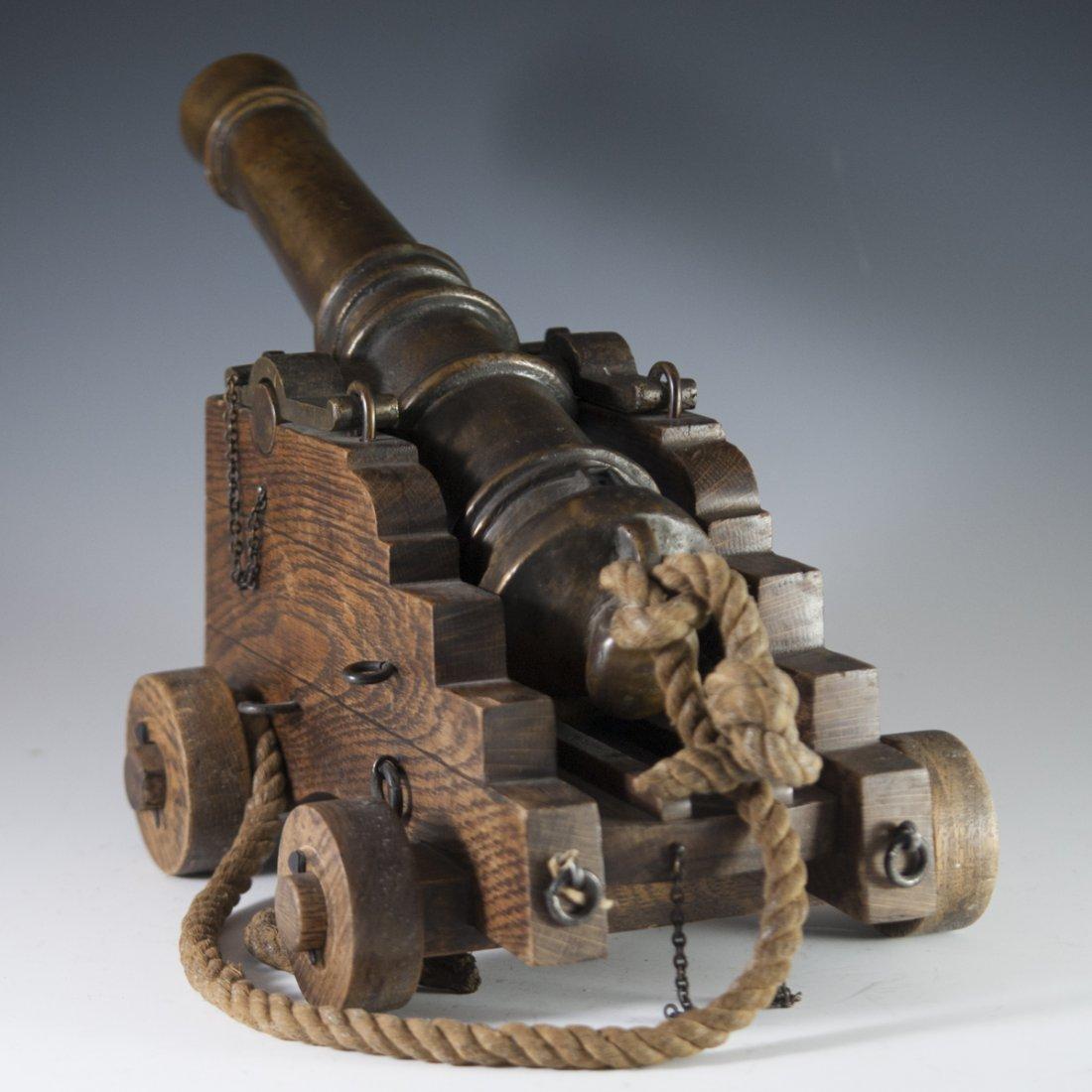 Antique Wooden & Bronze Cannon - 5
