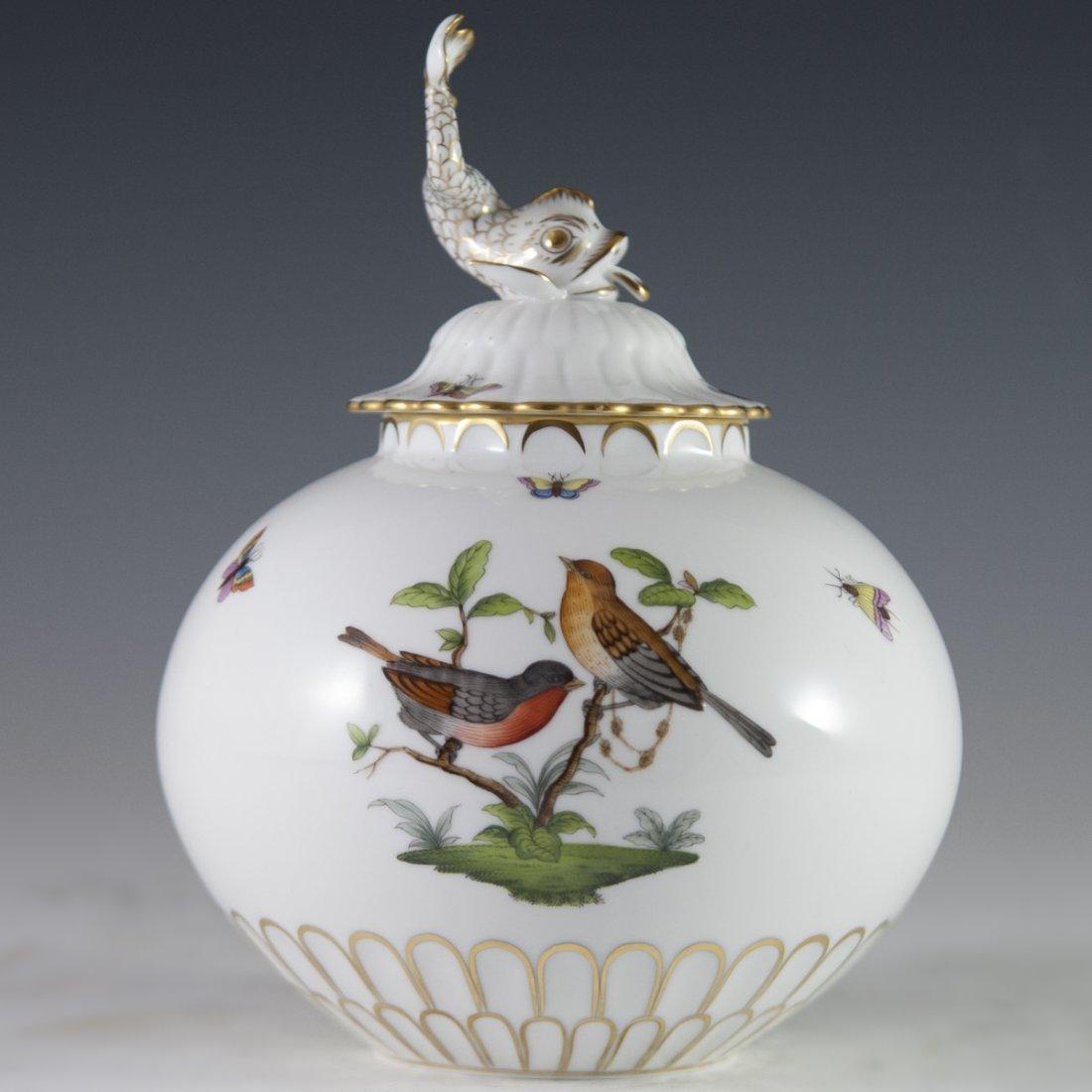 """Herend """"Chinese Bouquet"""" Rothschild Bird Porcelain Jar"""