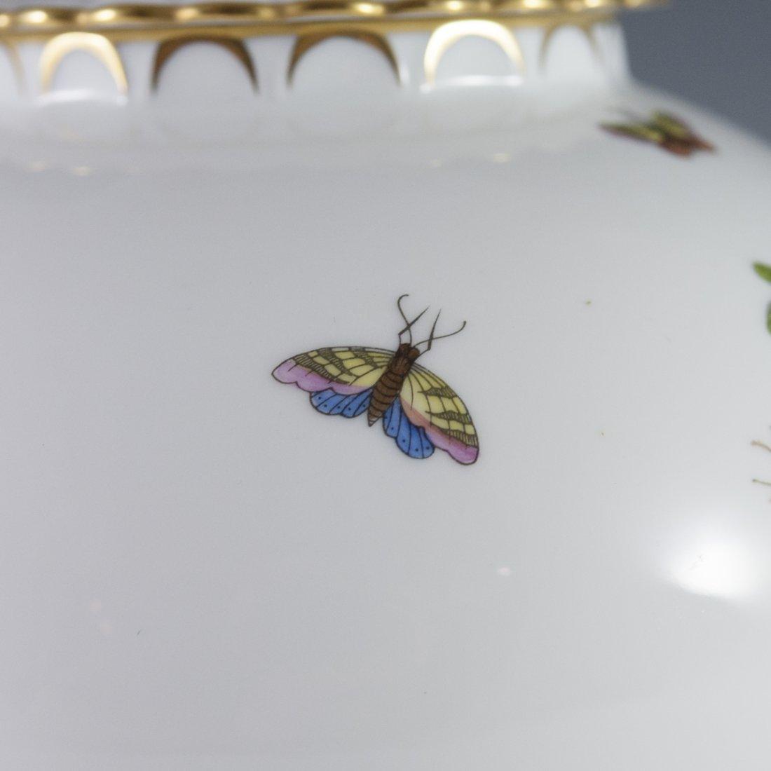 """Herend """"Chinese Bouquet"""" Rothschild Bird Porcelain Jar - 4"""