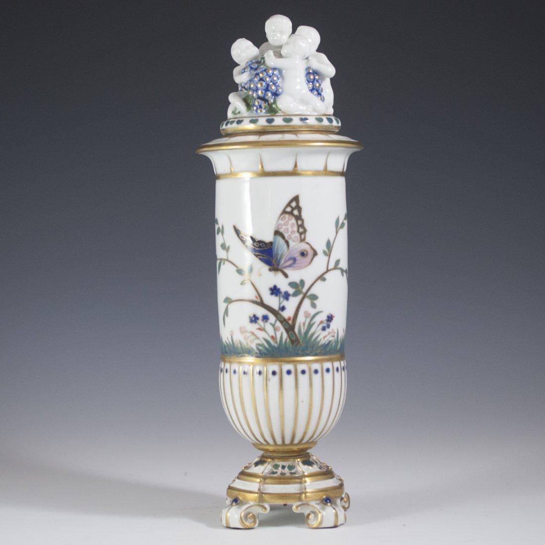 Saxe Porcelain & Enamel Lidded Urn