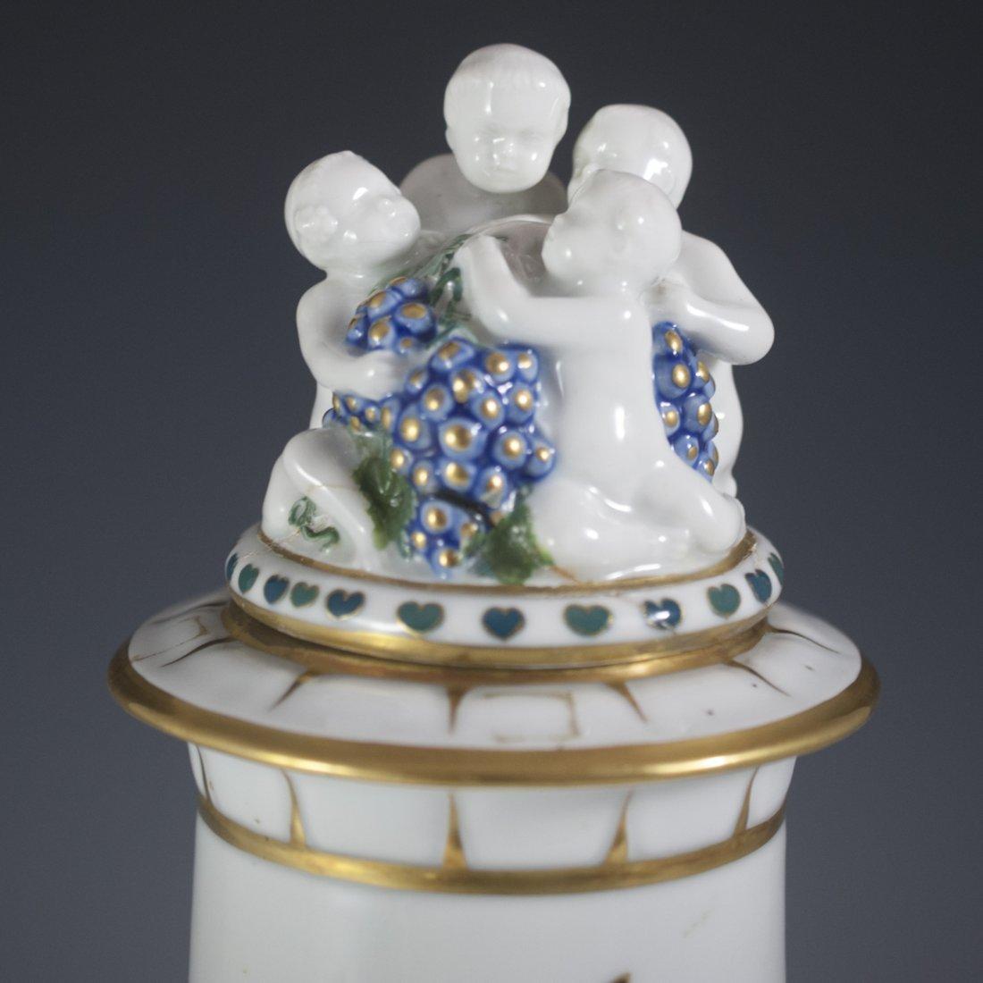 Saxe Porcelain & Enamel Lidded Urn - 4