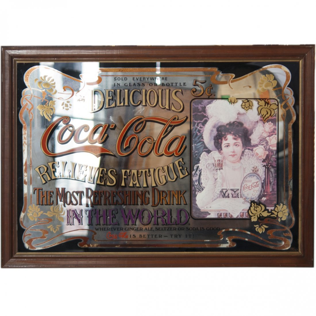 Antique Coca Cola Advertisement Mirror