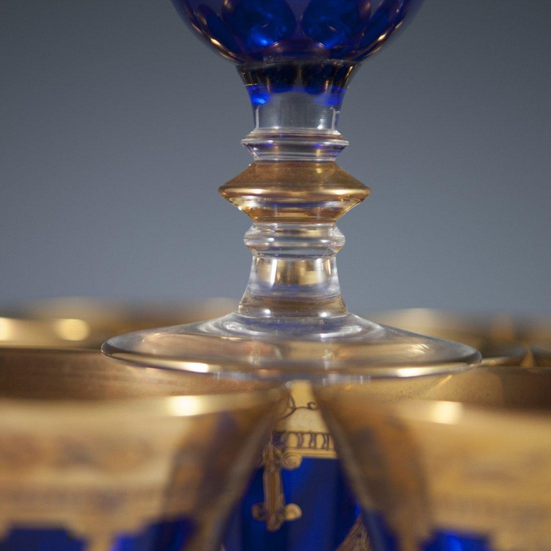 Interglass 24kt Overlay Cobalt Goblets - 4