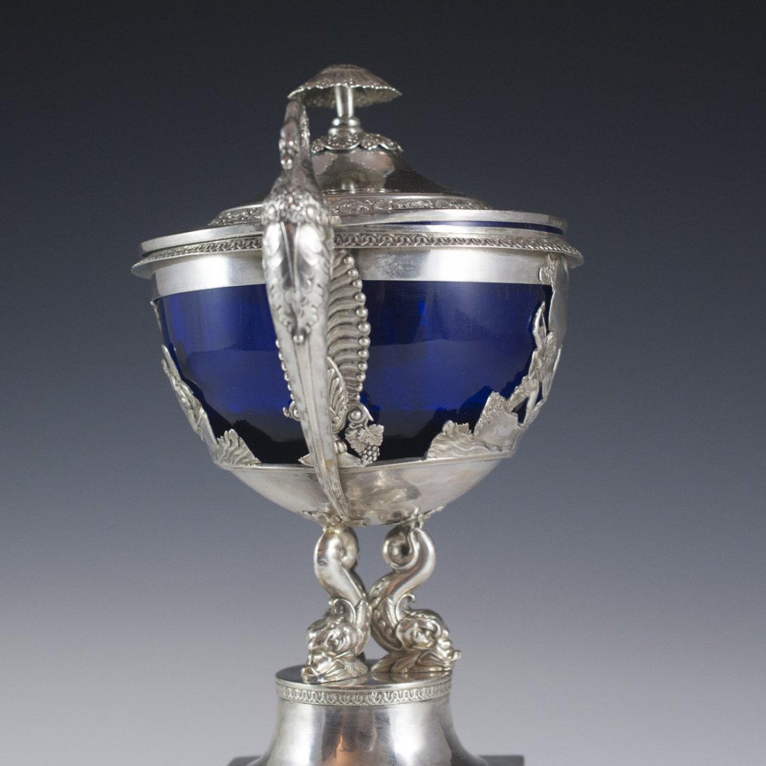 Continental Sterling & Cobalt Glass Lidded Nut Dish - 6