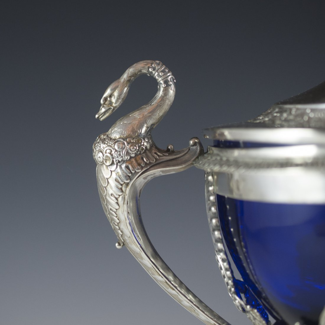 Continental Sterling & Cobalt Glass Lidded Nut Dish - 8