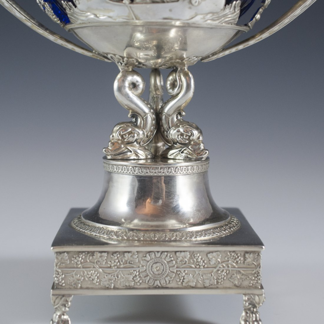 Continental Sterling & Cobalt Glass Lidded Nut Dish - 9