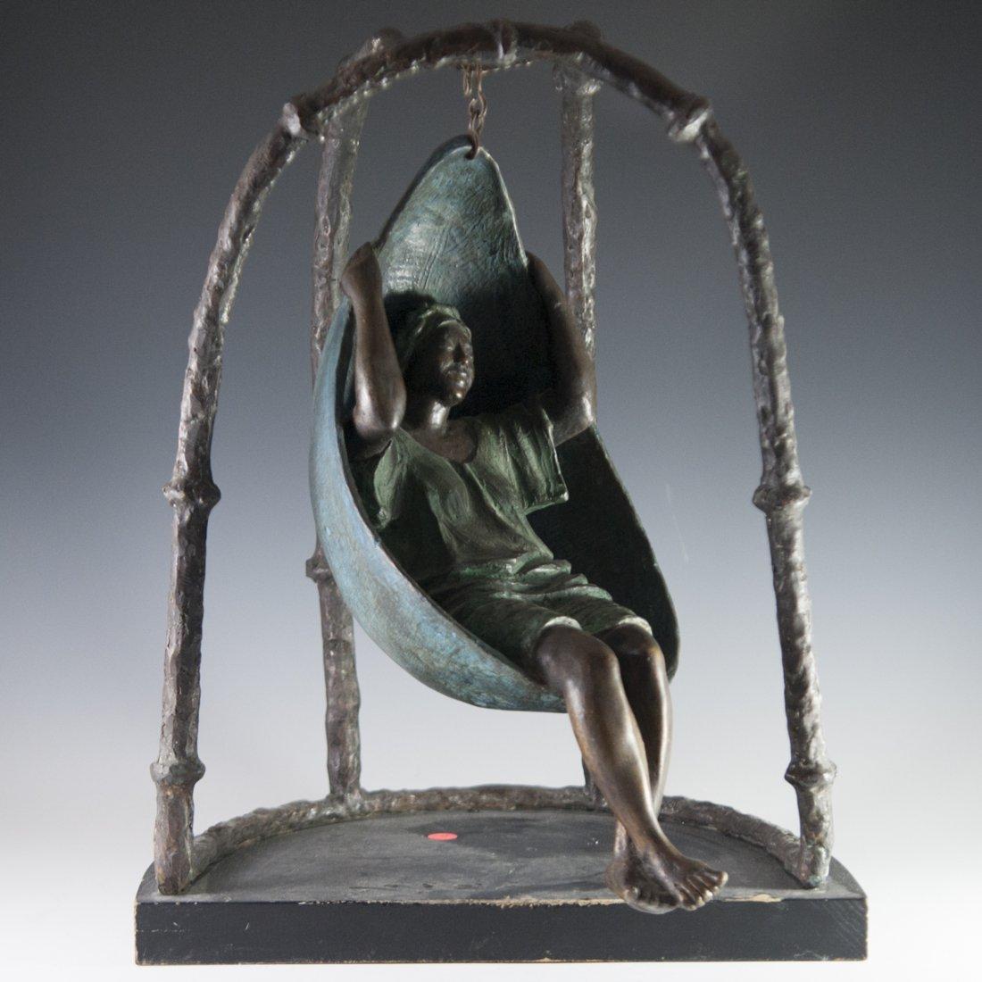 """Mujer en Columpio"" Mexican Bronze"
