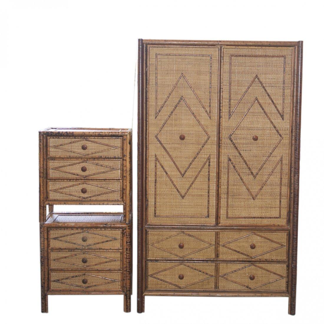 Vintage Wicker & Bamboo Furniture Set - 2