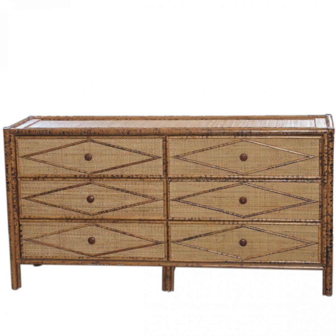 Vintage Wicker & Bamboo Furniture Set - 6