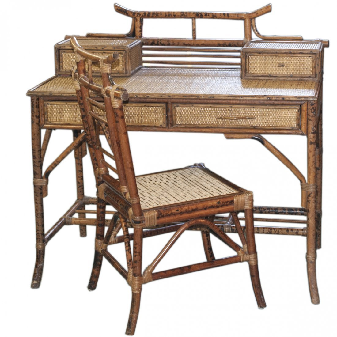 Vintage Wicker & Bamboo Furniture Set - 7