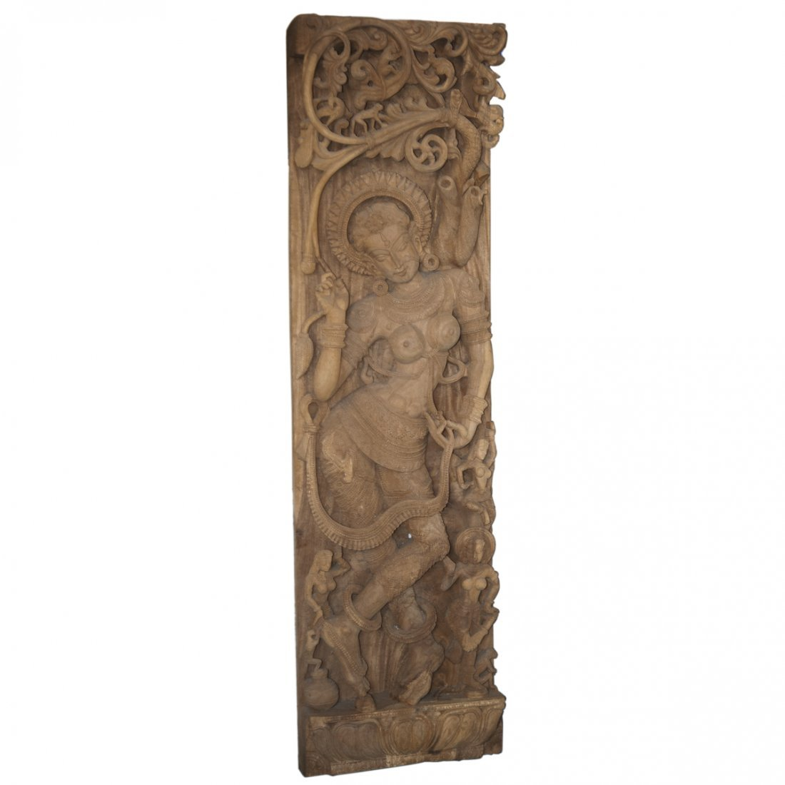 Large Indian Hindu Carved Wooden Plaque
