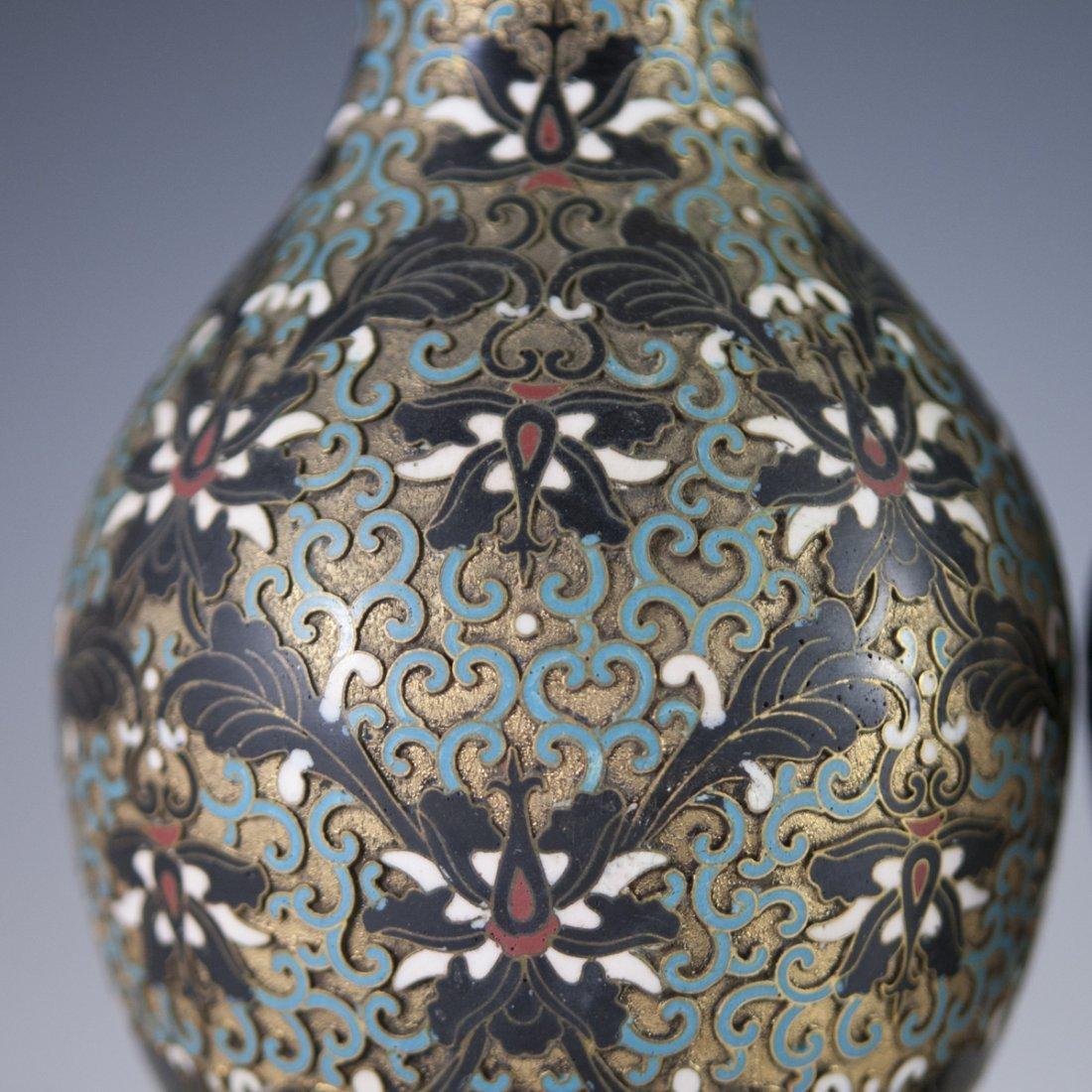 Vintage Cloisonne Enameled Vases - 2
