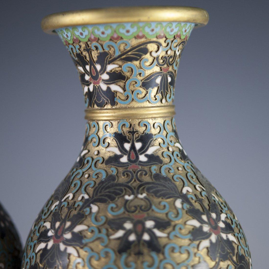 Vintage Cloisonne Enameled Vases - 4