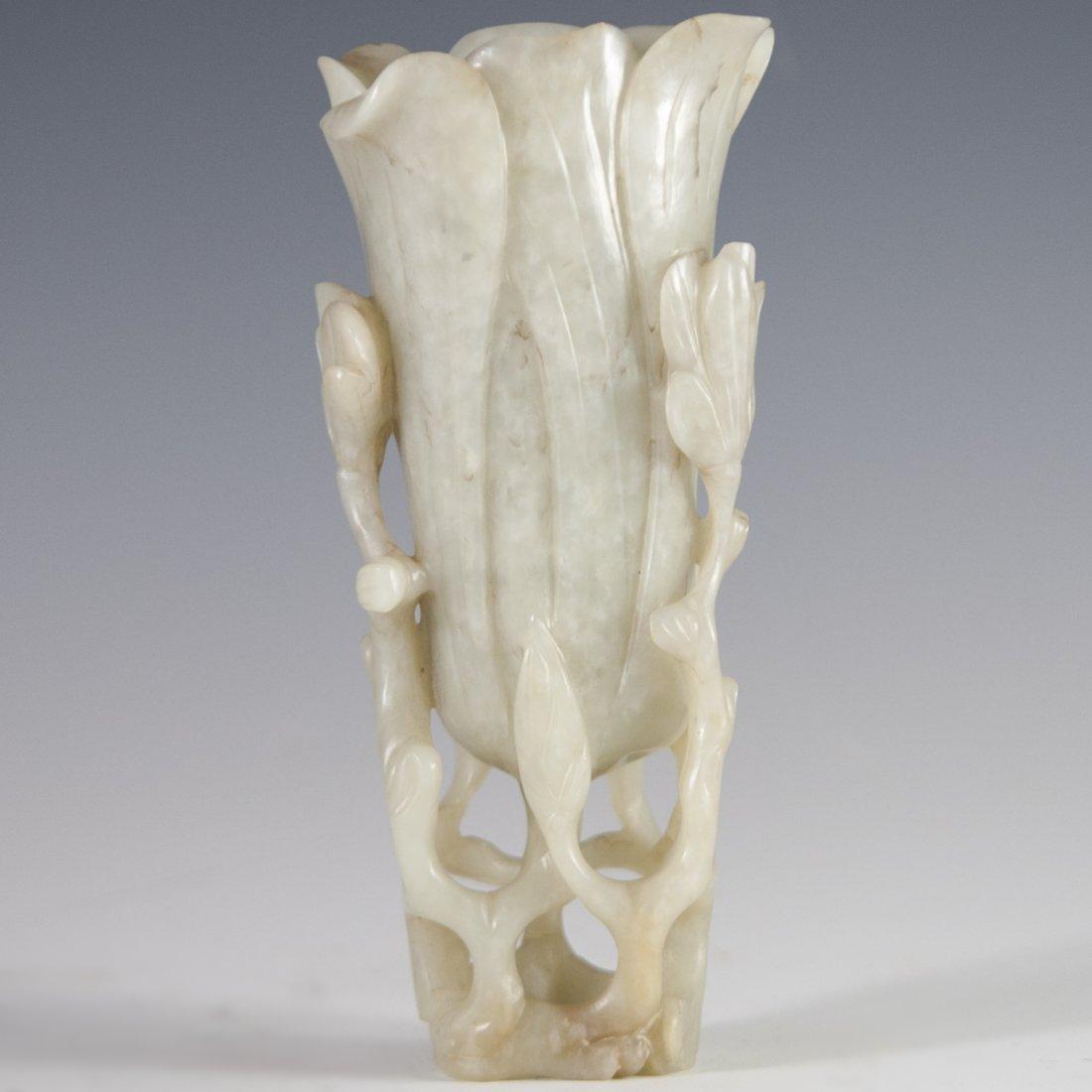 Antique Carved Jade Vase - 2
