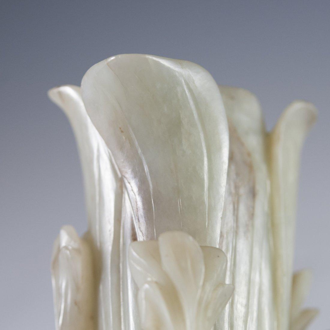 Antique Carved Jade Vase - 4