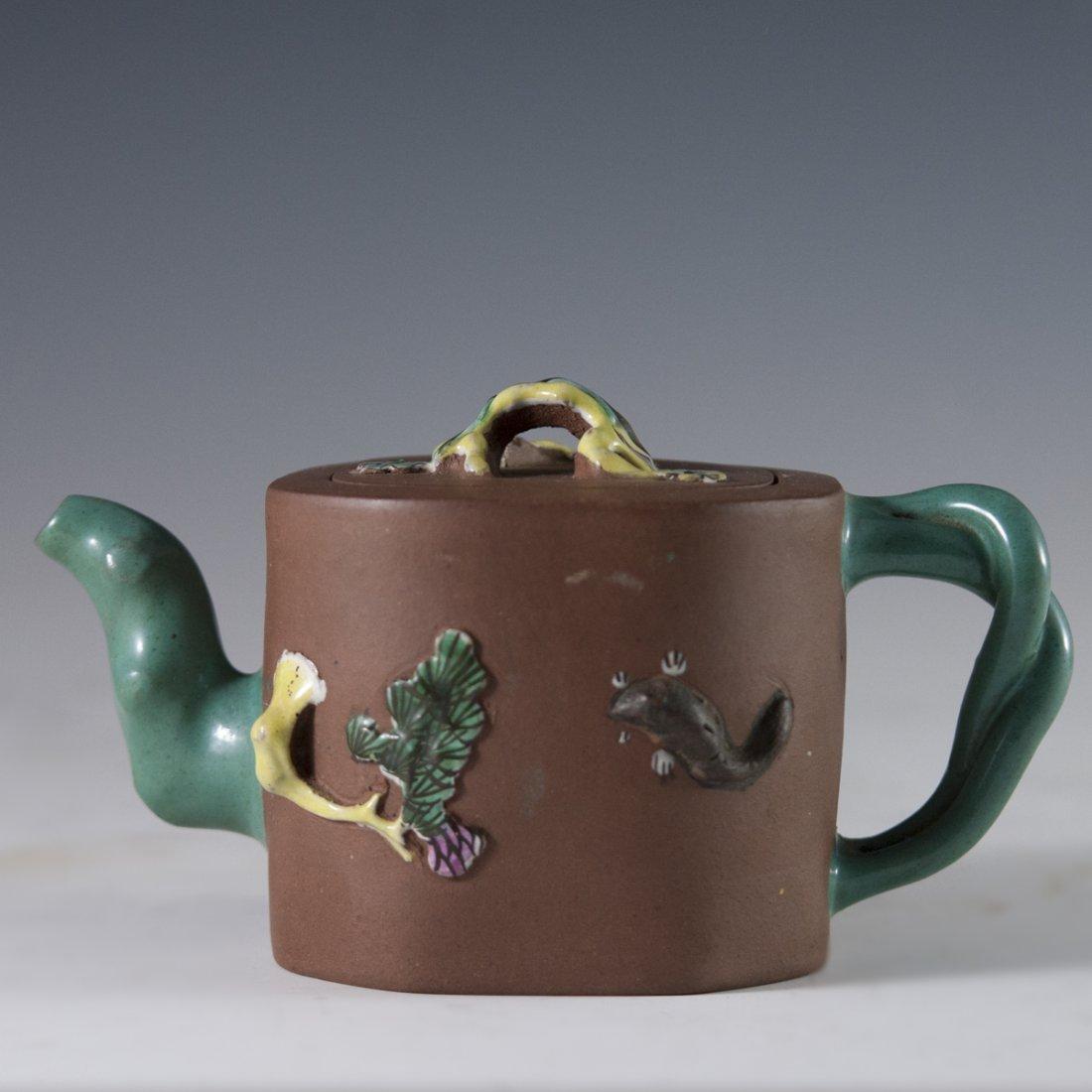 Enameled Chinese Terracotta Teapot