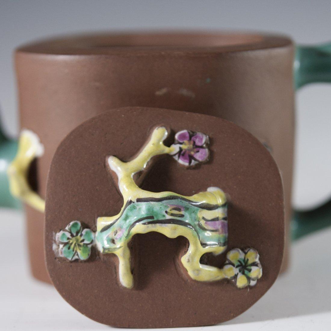 Enameled Chinese Terracotta Teapot - 2