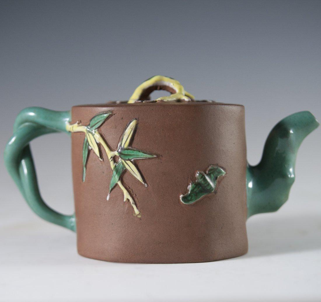 Enameled Chinese Terracotta Teapot - 4