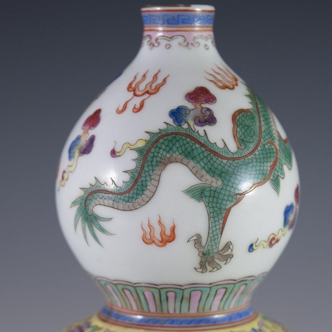 Chinese Famille Jaune Double Gourd Vase - 5