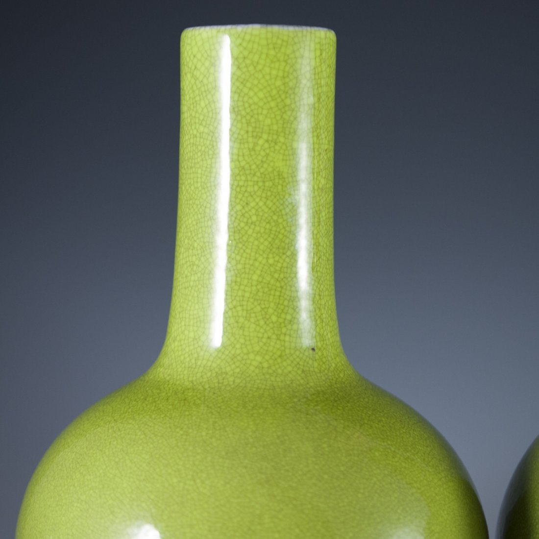 Chinese Porcelain Apple Green Bottle Vases - 2
