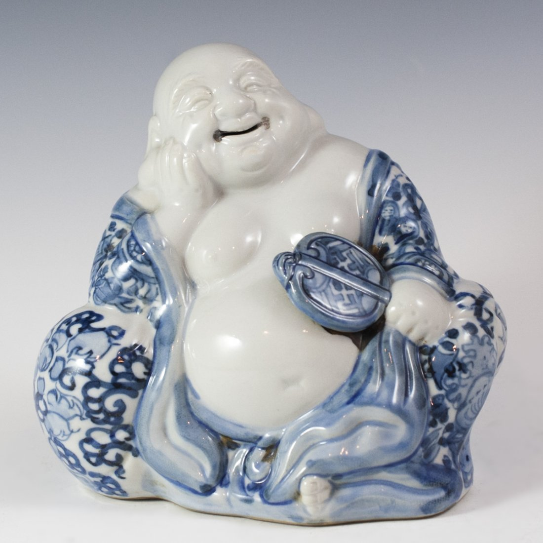 Chinese Blue & White Porcelain Buddha