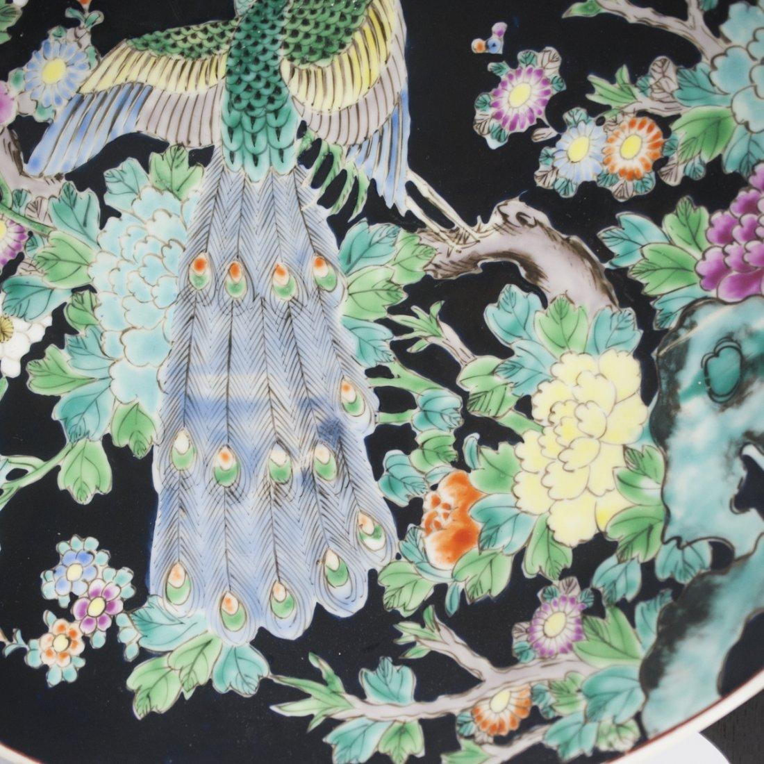 Japanese Famille Noire Porcelain Charger - 2