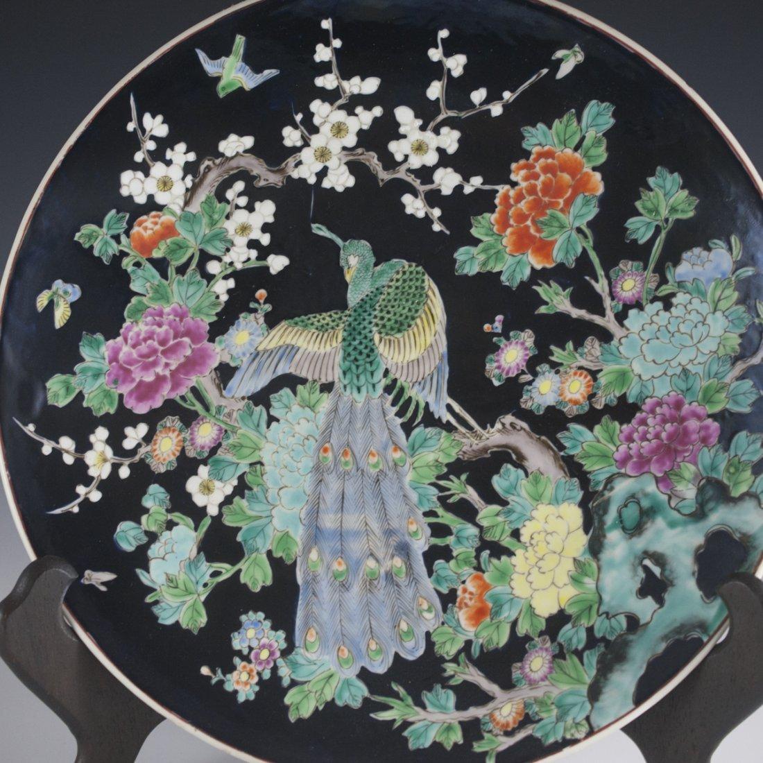Japanese Famille Noire Porcelain Charger - 4