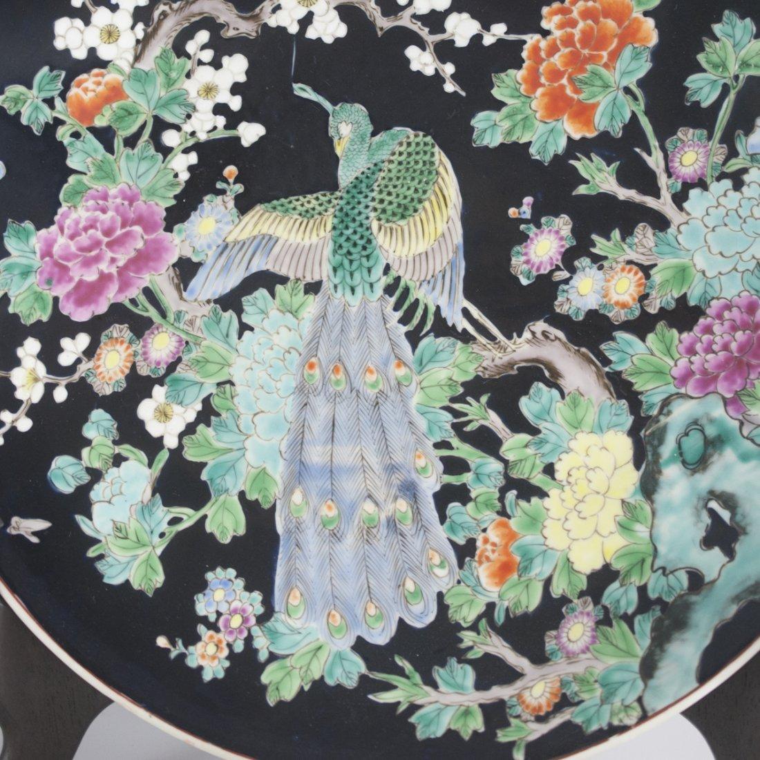 Japanese Famille Noire Porcelain Charger - 5