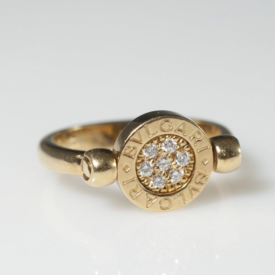 Bvlgari 18kt Gold & Diamond Flip Ring