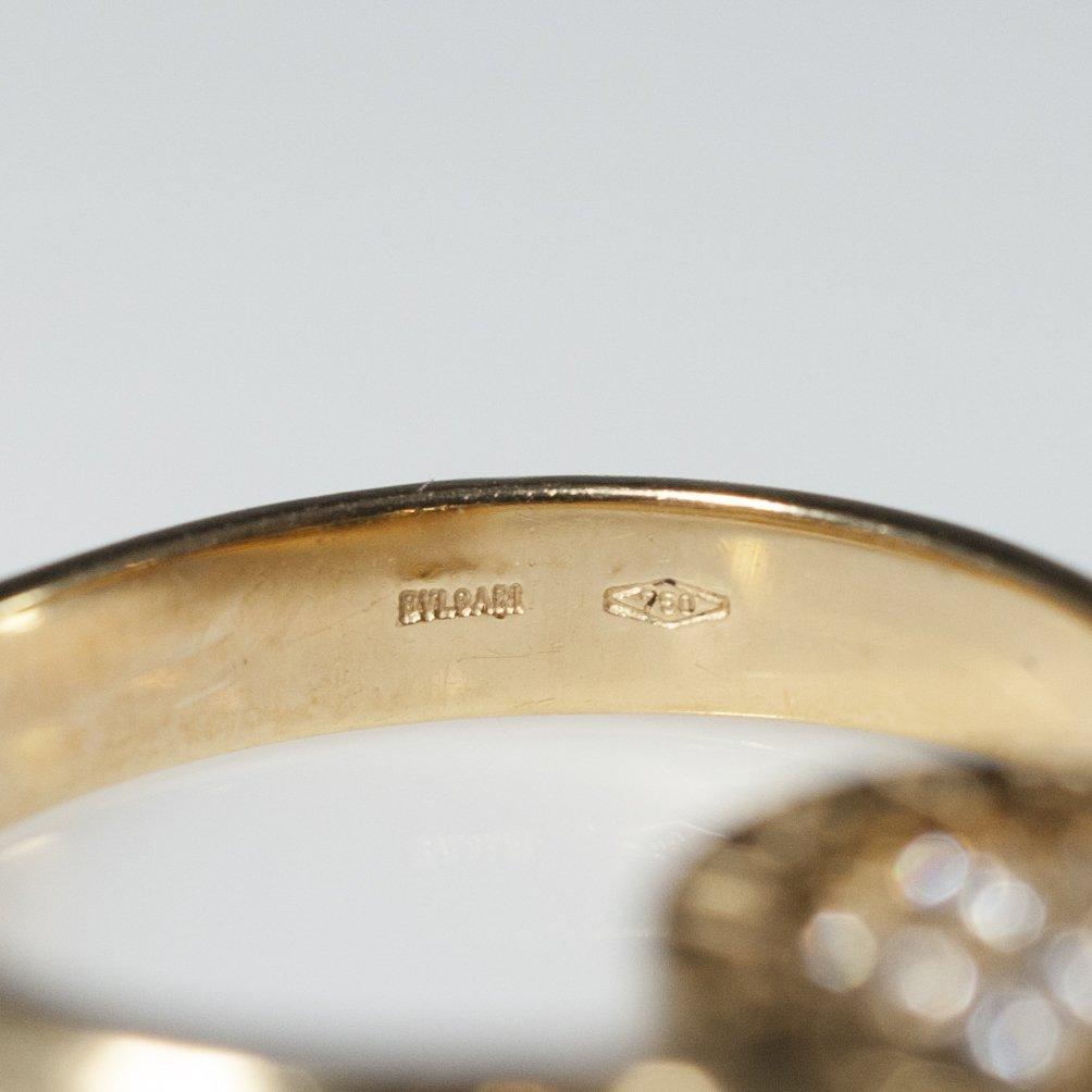 Bvlgari 18kt Gold & Diamond Flip Ring - 2