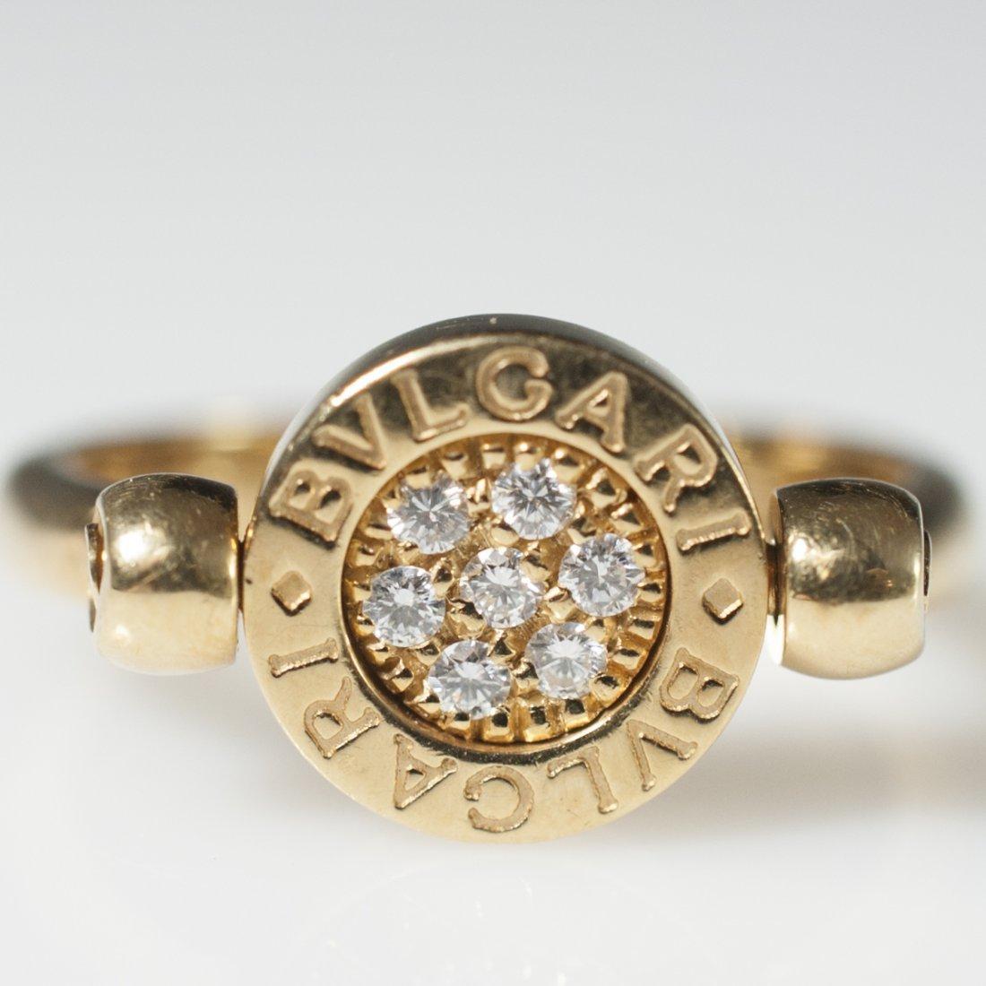 Bvlgari 18kt Gold & Diamond Flip Ring - 4