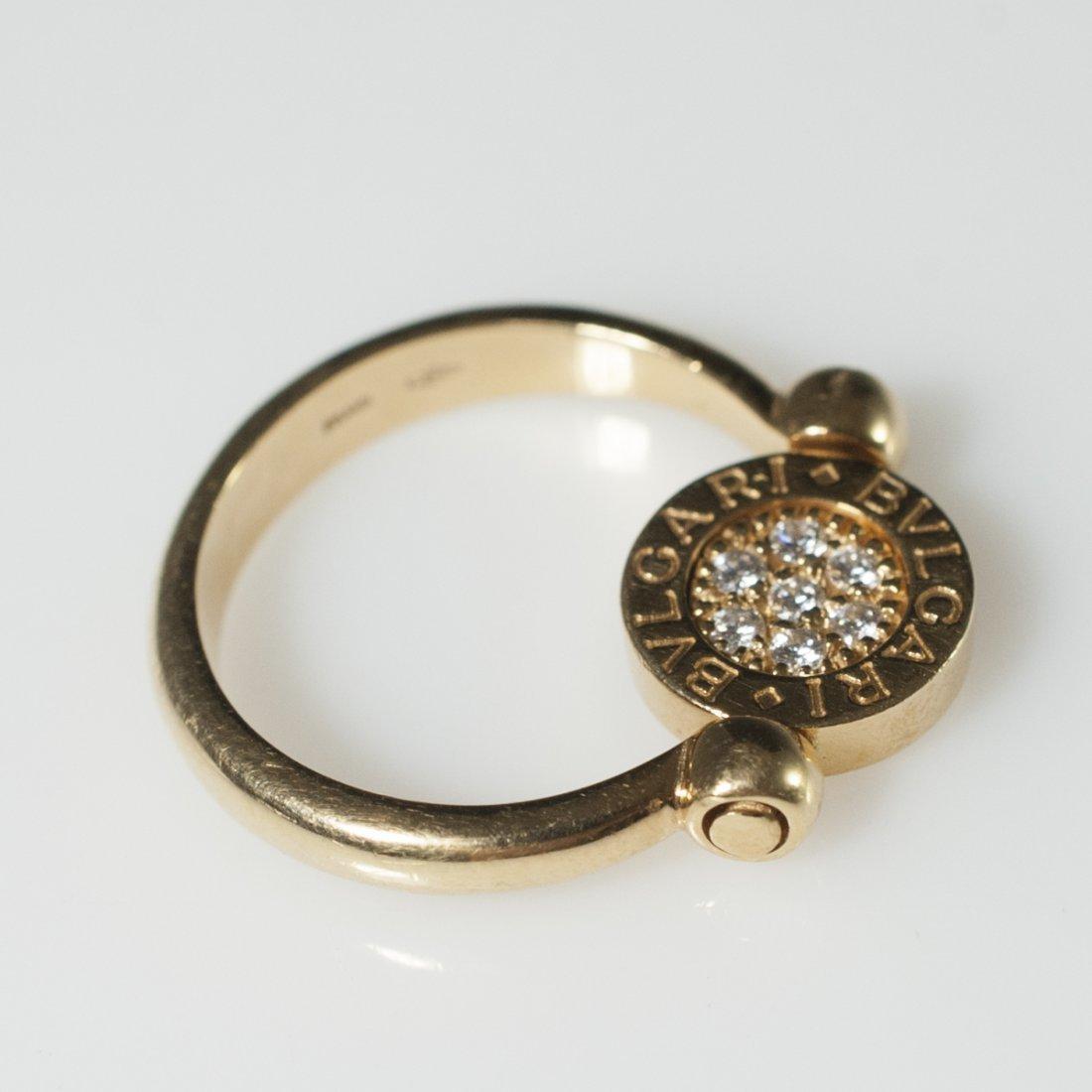 Bvlgari 18kt Gold & Diamond Flip Ring - 5