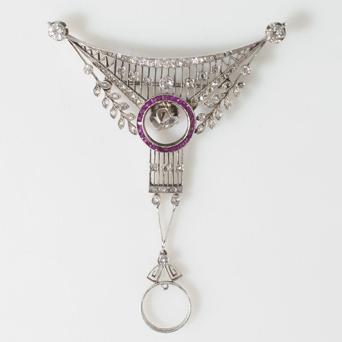 Victorian Gold Diamond & Ruby Brooch