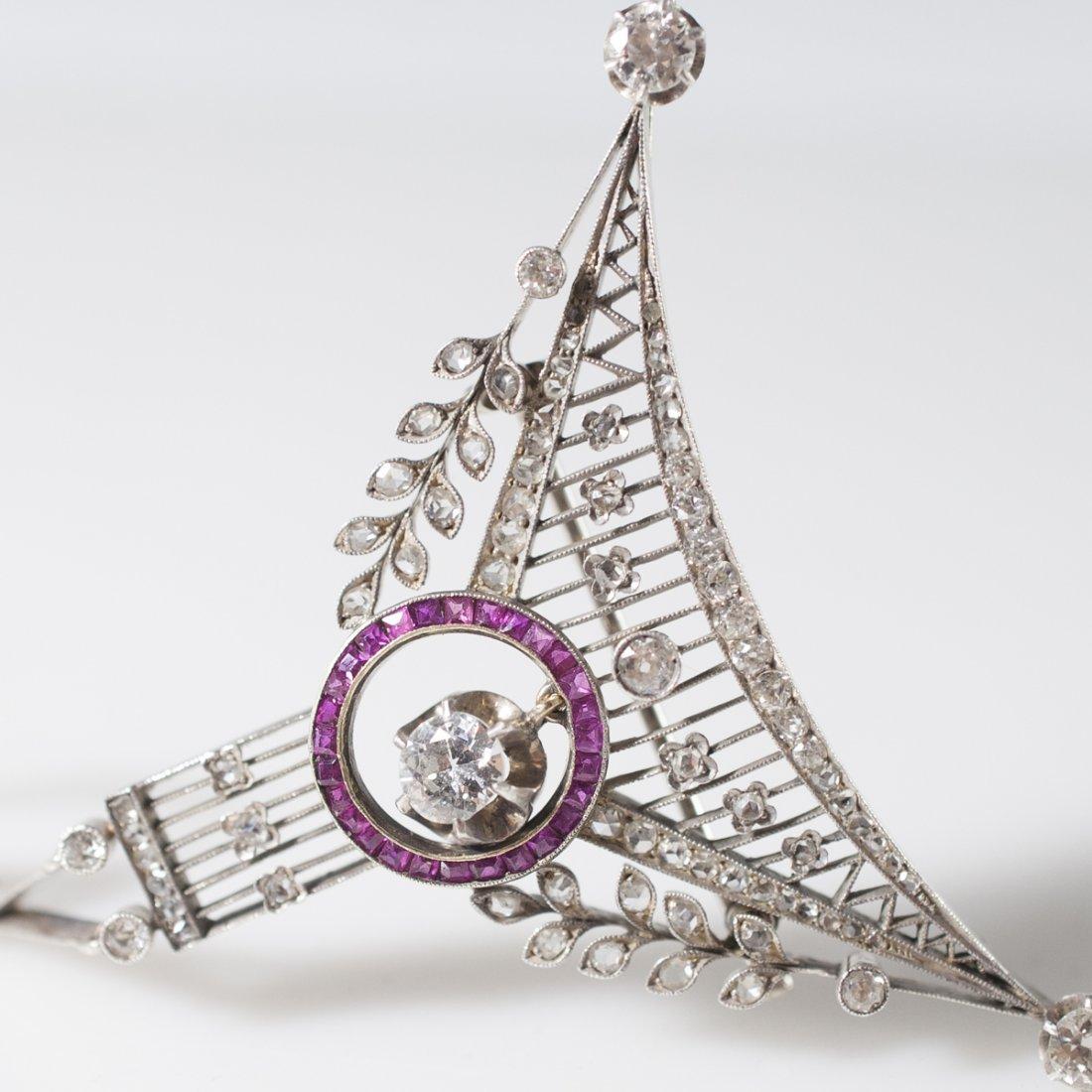 Victorian Gold Diamond & Ruby Brooch - 2
