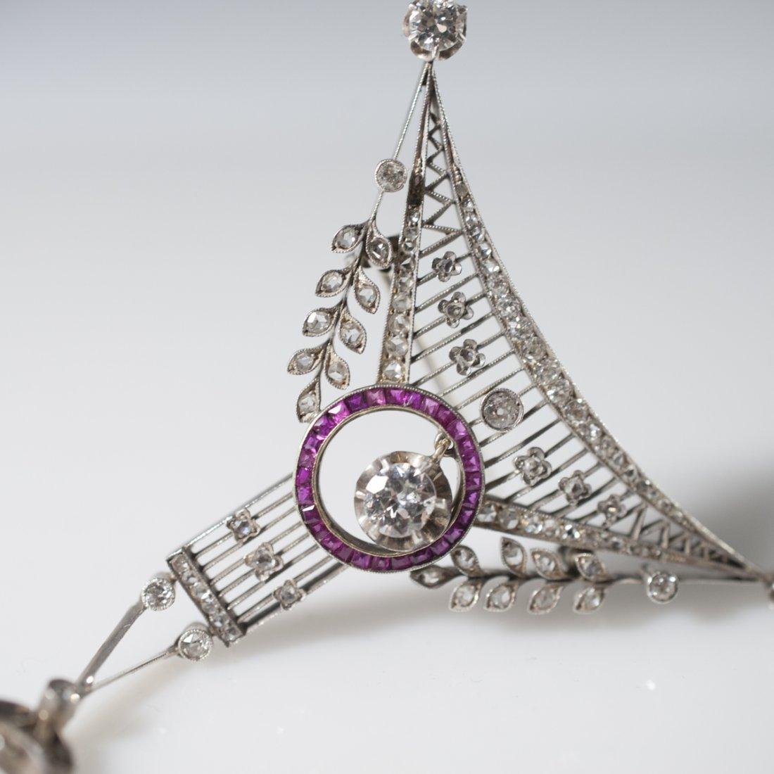 Victorian Gold Diamond & Ruby Brooch - 5