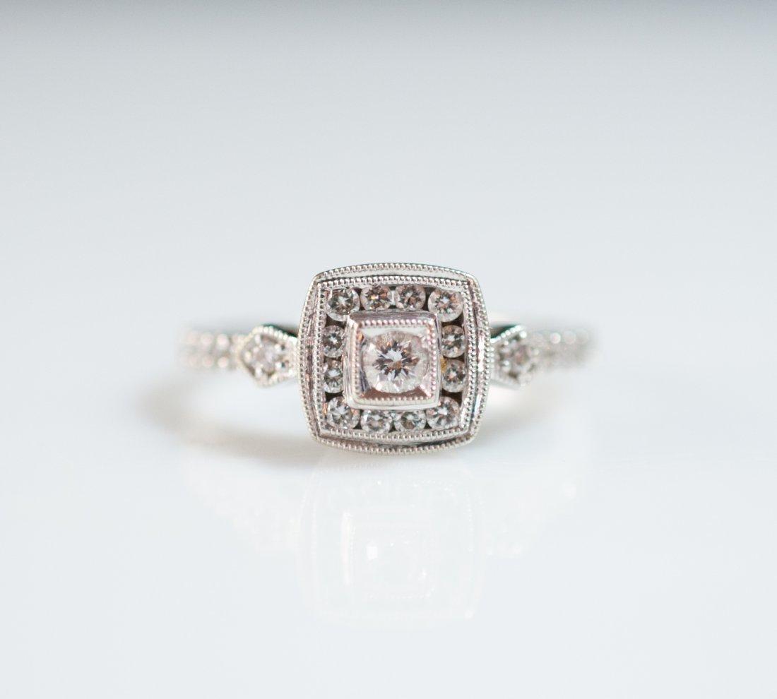 18kt Gold Filigree Diamond Ring