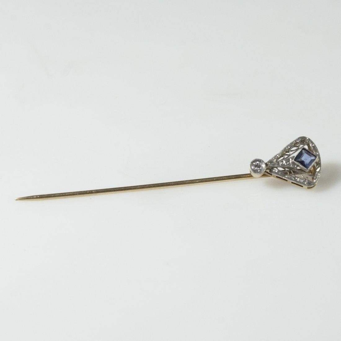 Art Deco 18kt Gold Sapphire & Diamond Pin