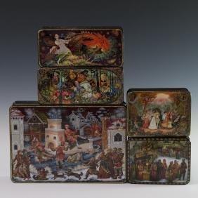 Russian Lacquered Papier Mache Boxes
